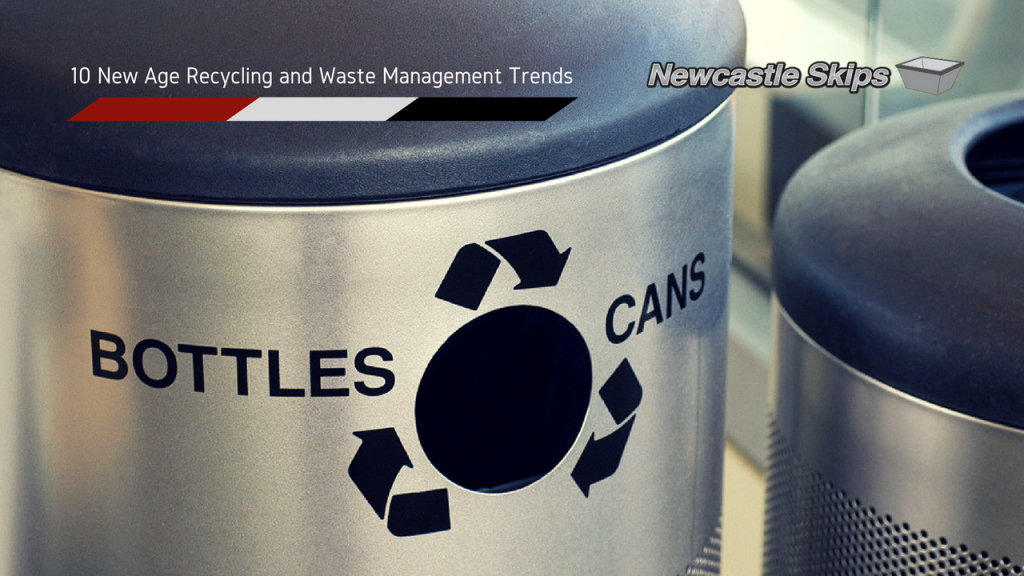 stainless steel waste bin with a bottles, recycle logo and cans