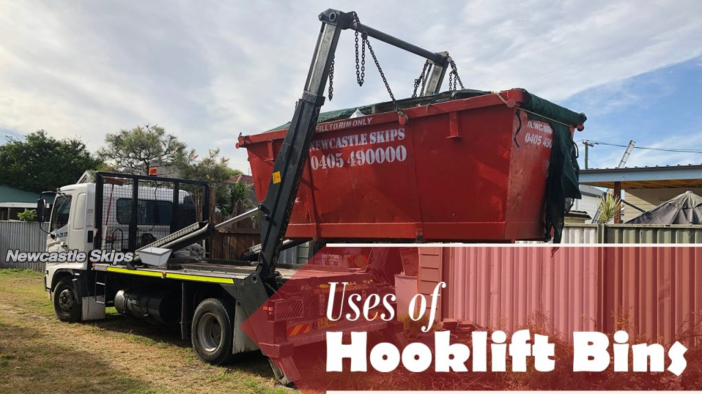 red hooklift bins was placed in newcastle