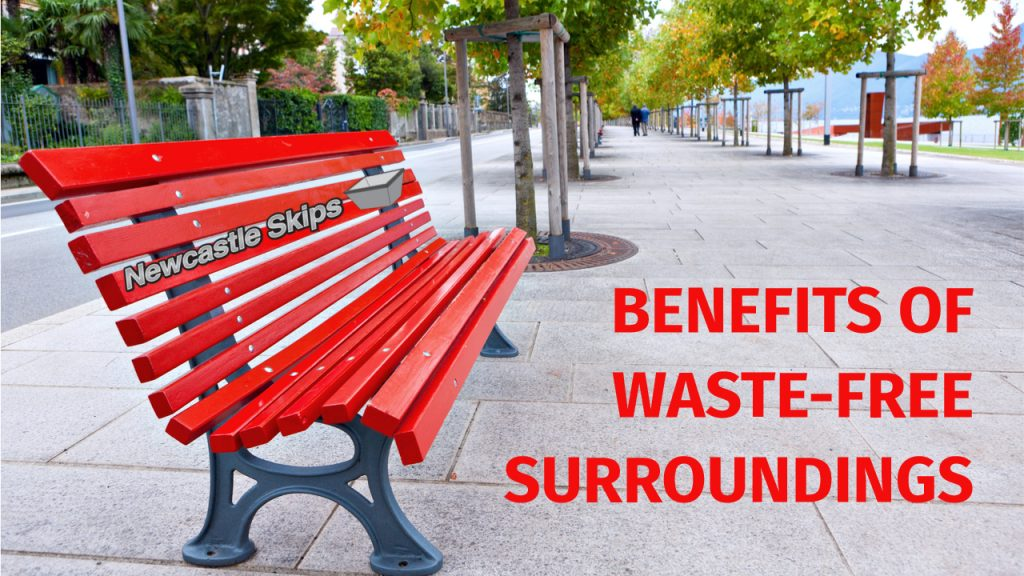 red park bench was place in newcastle street in waste free surroundings